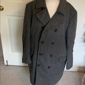 Saks Fifth Avenue faux fur lined men's gray coat